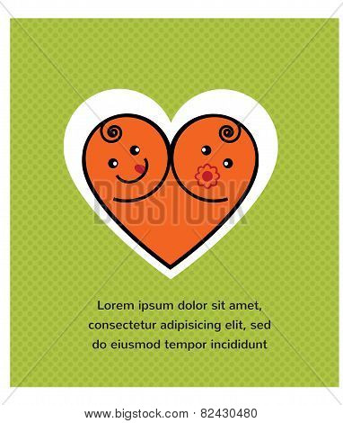 Vector card of smiling  baby boy and girl arranged as heart