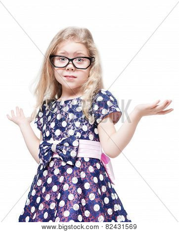 Beautiful Little Girl In Glasses Confused Isolated