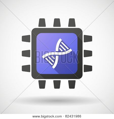 Cpu Icon With A Dna Sign