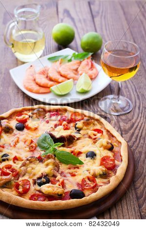 Italian Pizza with seafood.