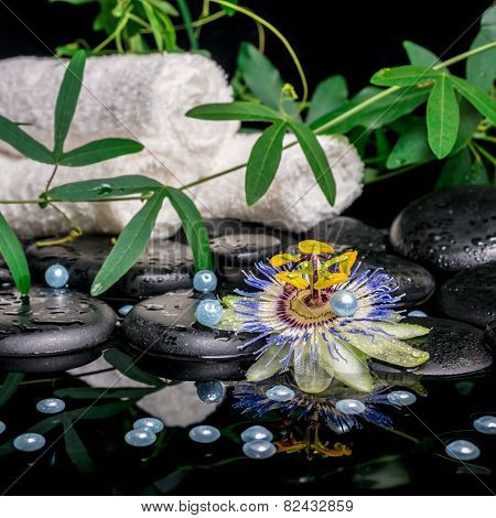 Spa Concept Of Passiflora Flower, Branches, Towels, Zen Basalt Stones With Drops And Pearl Beads In