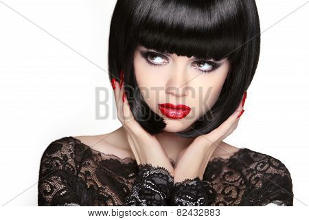 Fashion Model Girl Face, Beauty Woman Makeup And Bob Black Hairstyle.