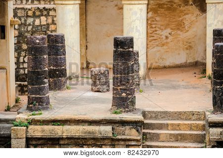 Part Of Ruins Vijaynagara Fort Tanjore Ancient Monument Nayak King 'vijay Raghav'. Madurai, Tamil Na