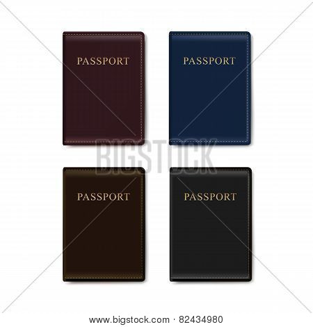 Vector Set of Leather Covers for Passport Isolated