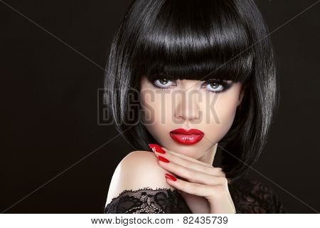 Fashion Model Glamour Girl With Red Lipstick