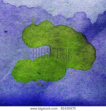 watercolor abstract green, blue background paint color blob desi