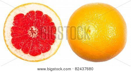 Whole Grapefruit And Cuted Isolated On A White