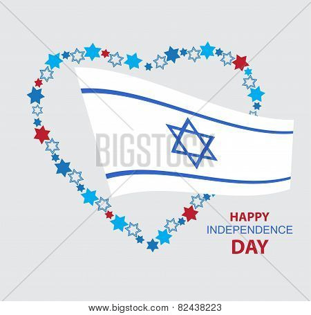 heart made of david stars with Israel flag
