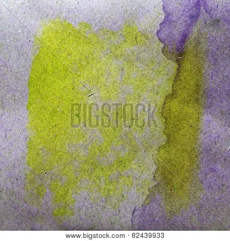 watercolor yellow, purple abstract background paint color blob d