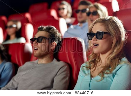 cinema, technology, entertainment and people concept - friends with 3d glasses watching horror or thriller movie in theater