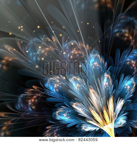 Blue Fractal Flower With Golden Details