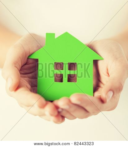 closeup picture of woman hands holding green house