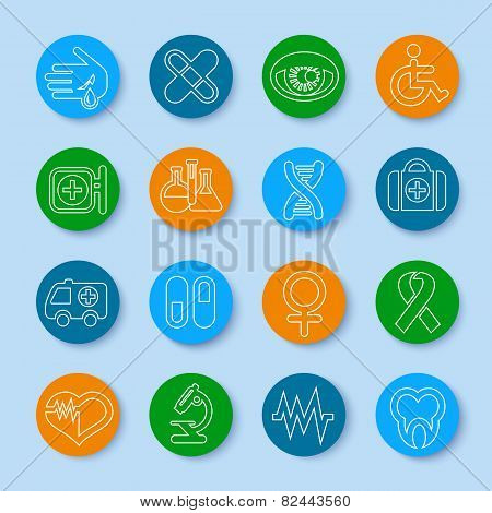 Thin Line Medical Icons Set