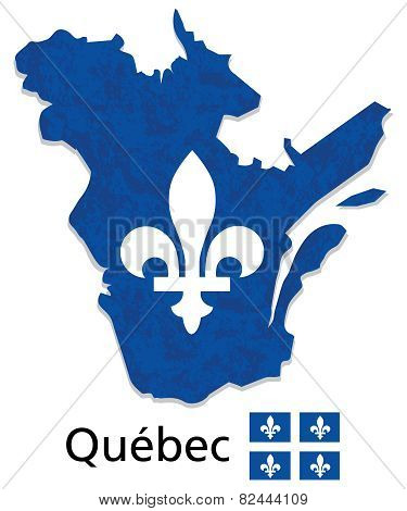 Quebec map with emblem and flag illustration