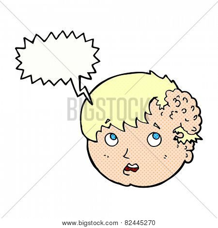 cartoon boy with ugly growth on head with speech bubble