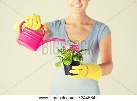 woman holding pot with flower and watering can
