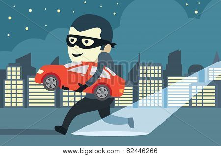Man stealing a car