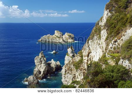 rock on coast at Corfu island