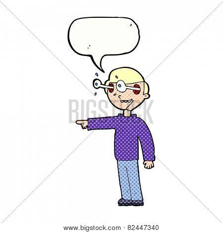 cartoon staring man with speech bubble