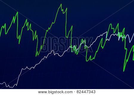 Financial chart with two simple lines on blue background