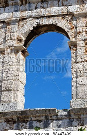 Window of ancient Roman amphitheater in Pula Croatia