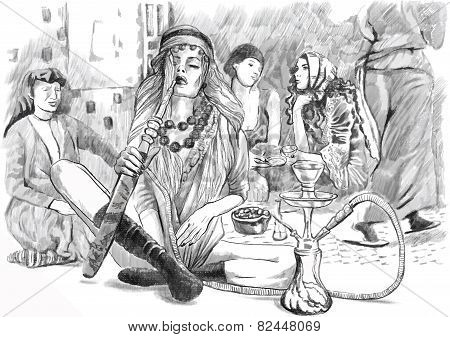 Smoking Hookah (harem) - An Hand Drawn Vector, White