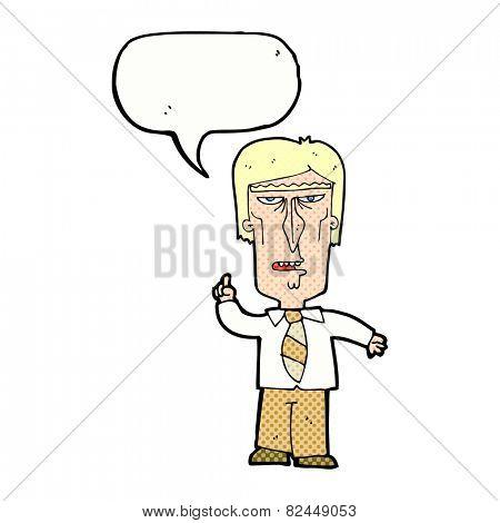 cartoon grumpy boss with speech bubble