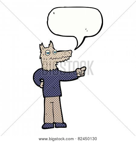 cartoon pointing wolf man with speech bubble