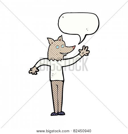 cartoon waving wolf man with speech bubble