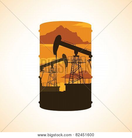 Oil Barrel Silhouette. Double Exposure Effect.