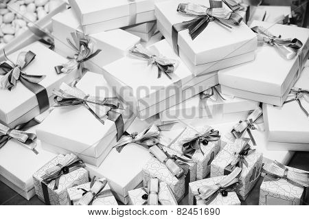 Gifts pile with ribbons