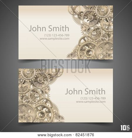 Gears vector business card
