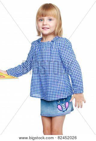 Beautiful little girl in a blue dress.
