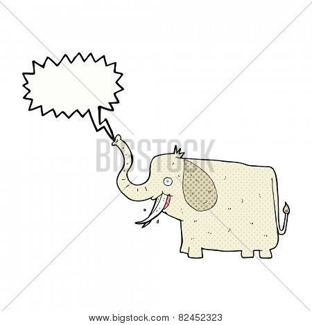 cartoon happy elephant with speech bubble