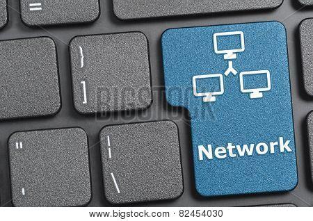 Blue network key on keyboard