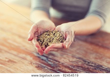 cooking and home concept - close up of female hands with pile of mixture of white and wild black rice