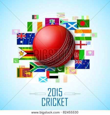 illustration of cricket ball with different participating countries flag