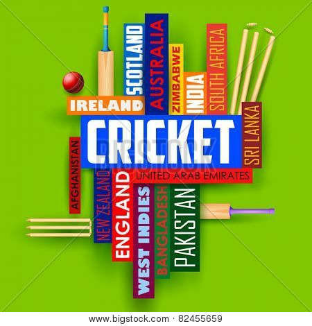 illustration of Cricket typography background with different participating countries name