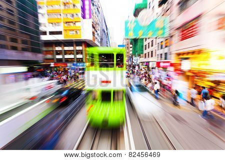traffic blur motion in modern city hongkong