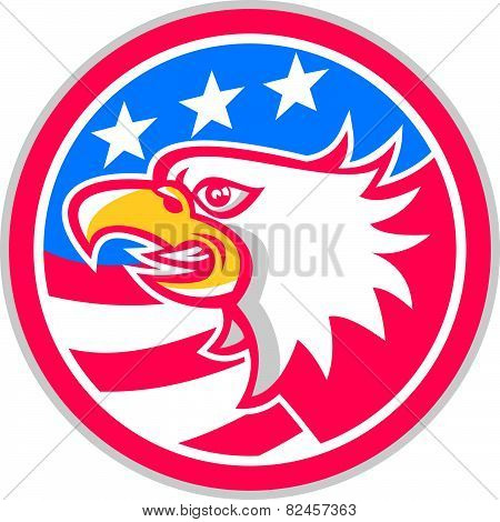 American Bald Eagle Head Flag Circle Retro