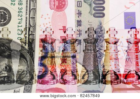 Cash is King -  row of transparent King chess pieces on world major currencies