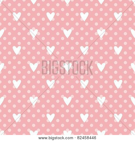 Tile cute vector pattern with white hearts and polka dots on pastel pink background