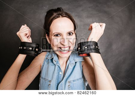 Arrest And Jail. Criminal Woman Prisoner Girl In Handcuffs