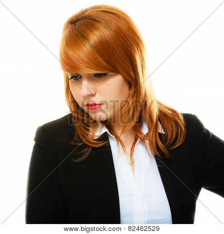 Redhaired Sad Business Woman Portrait