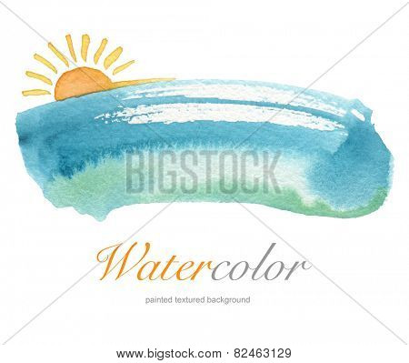 Summer watercolor hand painted background. Textured paper.