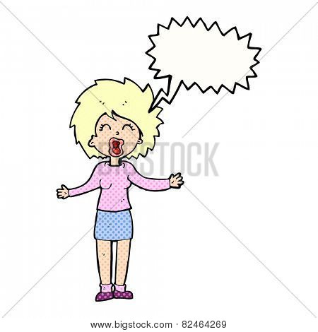 cartoon loud woman with speech bubble