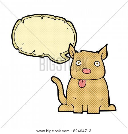 cartoon dog sticking out tongue with speech bubble