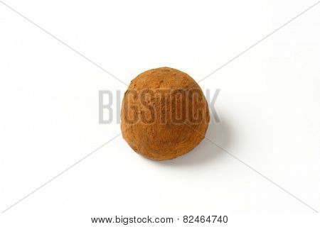 belgian praline with chocolate butter on white background