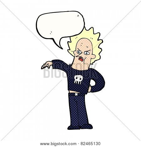 cartoon nasty boy with speech bubble