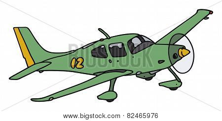 Green propeller airplane